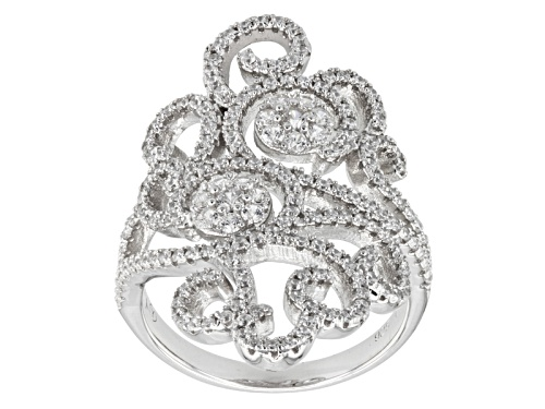 Photo of Bella Luce ® 2.15ctw Round Rhodium Over Sterling Silver Ring (1.14ctw Dew) - Size 5