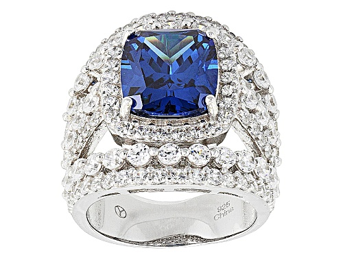 Photo of Bella Luce ® 15.90ctw Blue And White Diamond Simulants Rhodium Over Silver Ring (9.56ctw Dew) - Size 5