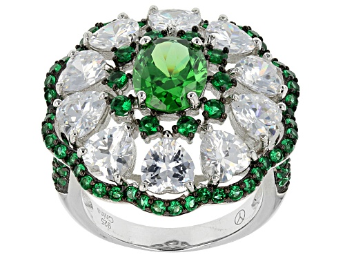 Bella Luce ® 11.06ctw Emerald And White Diamond Simulants Rhodium Over Sterling Silver Ring - Size 5