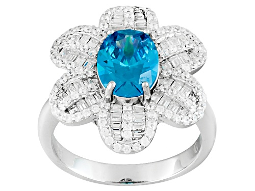 Photo of Bella Luce ® 3.75ctw Neon Apatite And White Diamond Simulants Rhodium Over Sterling Silver Ring - Size 5