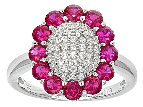 Photo of Bella Luce ® 1.99ctw Ruby And White Diamond Simulants Rhodium Over Sterling Silver Ring - Size 8
