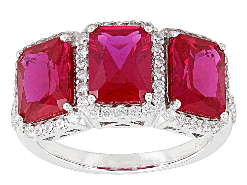 Photo of Bella Luce ® 5.35ctw Ruby And White Diamond Simulants Rhodium Over Sterling Silver Ring - Size 8