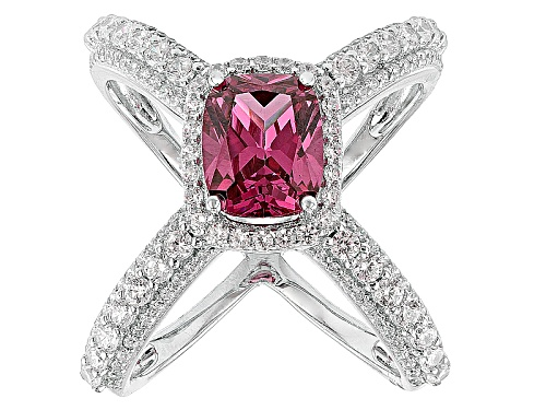 Photo of Bella Luce ® 5.95ctw Rhodolite And White Diamond Simulants Rhodium Over Sterling Silver Ring - Size 6