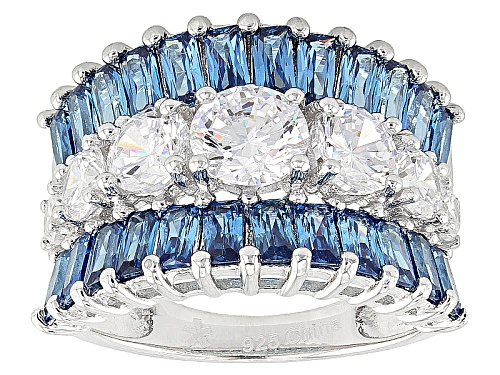 Photo of Bella Luce®7.15ctw Blue And White Diamond Simulants Rhodium Over Sterling Silver Ring(5.84ctw Dew) - Size 5