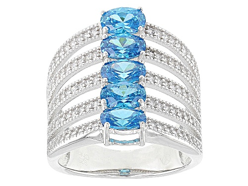 Photo of Bella Luce ® 4.20ctw Neon Apatite And White Diamond Simulants Rhodium Over Sterling Silver Ring - Size 6