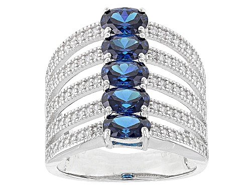 Photo of Bella Luce ® 4.20ctw Blue Sapphire And White Diamond Simulants Rhodium Over Sterling Silver Ring - Size 7