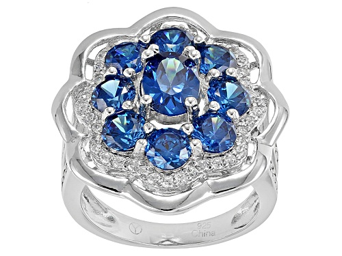 Photo of Bella Luce ® 5.05ctw Blue Apatite And White Diamond Simulants Rhodium Over Sterling Silver Ring - Size 5