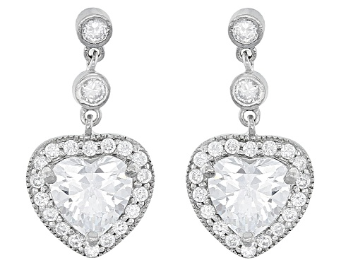 Photo of Bella Luce ® 8.30ctw Rhodium Over Sterling Silver Heart Earrings (4.20ctw Dew)