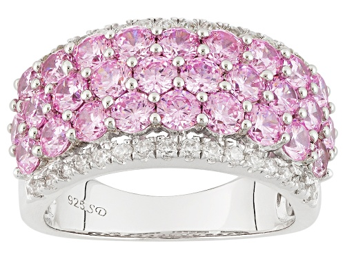 Bella Luce ® 6.21ctw Pink And White Diamond Simulants Rhodium Over Sterling Silver Ring - Size 5