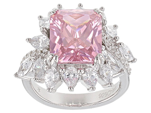 Photo of Bella Luce®14.30ctw Pink And White Diamond Simulants Rhodium Over Sterling Silver Ring - Size 6