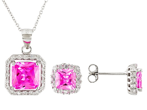 Photo of Bella Luce ® 6.97ctw Pink And White Diamond Simulants Rhodium Over Sterling Jewelry Set