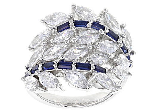 Bella Luce ® 7.48ctw Blue Sapphire And White Diamond Simulants Rhodium Over Sterling Silver Ring - Size 7