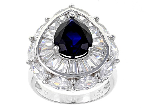 Bella Luce ® 10.75ctw Blue Sapphire And White Diamond Simulants Rhodium Over Sterling Silver Ring - Size 11