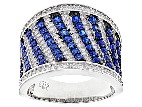 Photo of Bella Luce ® 2.60ctw Lab Blue Spinel And White Diamond Simulant Rhodium Over Sterling Silver Ring - Size 5
