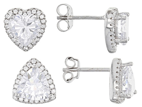Photo of Bella Luce ® 5.08ctw Rhodium Over Sterling Silver Heart And Triangle Earrings Set