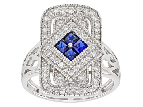 Photo of Bella Luce ® 1.40ctw Lab Blue Spinel And White Diamond Simulant Rhodium Over Stering Silver Ring - Size 11
