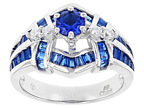 Photo of Bella Luce ® 1.95ctw Lab Blue Spinel And White Diamond Simulant Rhodium Over Sterling Silver Ring - Size 10