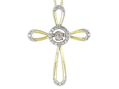 Photo of .10ctw Round White Diamond 10k Yellow Gold Cross Dancing Diamond Pendant With 18inch Rope Chain