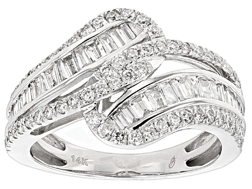 Photo of 1.00ctw Round And Baguette White Diamond 14k White Gold Ring - Size 7