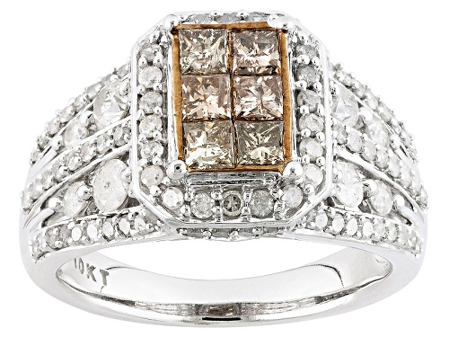 Photo of 1.38ctw Round And Princess Cut White And Champagne Diamond 10k White Gold Ring - Size 7