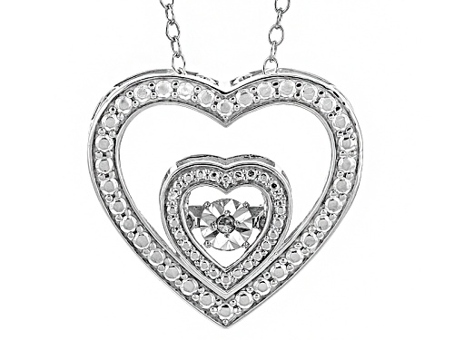 Photo of Round White Diamond Accent Rhodium Over Sterling Silver Dancing Diamond Pendant With 18inch Chain