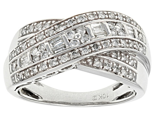 Photo of .50ctw Round And Baguette White Diamond 10k White Gold Ring - Size 7