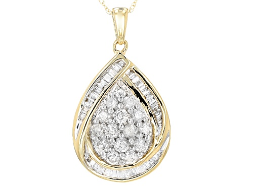 Photo of .85ctw Round And Baguette White Diamond 10k Yellow Gold Pendant With 18inch Rope Chain
