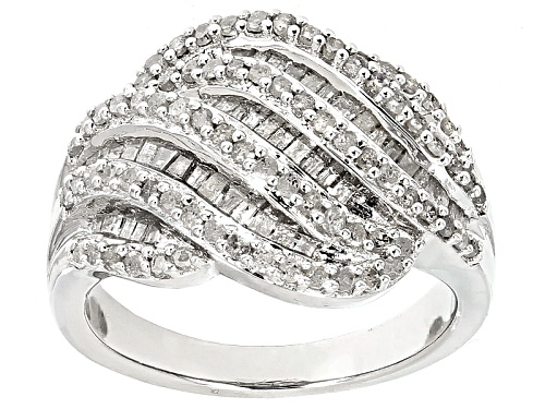Photo of 1.00ctw Round And Baguette White Diamond Rhodium Over Sterling Silver Ring - Size 9