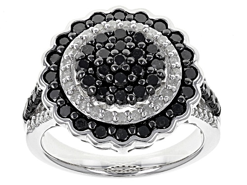 1.50ctw Round Black And White Diamond Rhodium Over Sterling Silver Ring - Size 5