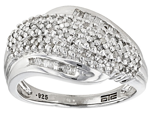 Photo of .33ctw Round And Baguette White Diamond Rhodium Over Sterling Silver Ring - Size 6