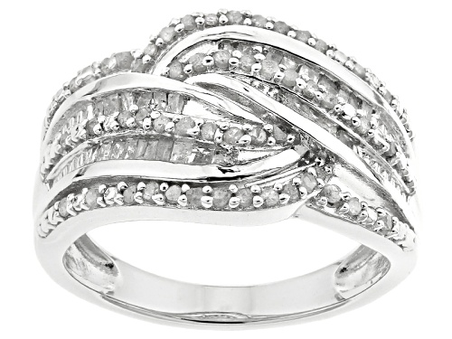 Photo of .50ctw Round And Baguette White Diamond Rhodium Over Sterling Silver Ring - Size 8