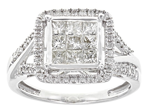 Photo of 1.00ctw Round And Princess Cut White Diamond 10k White Gold Ring - Size 8