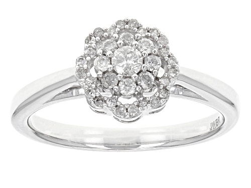 .33ctw Round White Diamond 10k White Gold Ring - Size 7