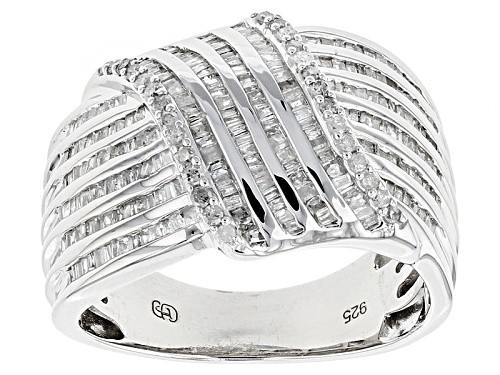 Photo of .83ctw Baguette And Round White Diamond Rhodium Over Sterling Silver Ring - Size 7