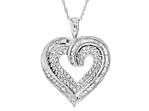 Photo of .38ctw Round And Baguette White Diamond 10k White Gold Pendant With An 18 Inch Rope Chain