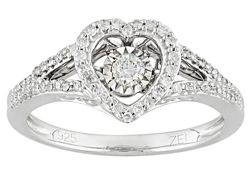 Photo of .25ctw Round White Diamond Rhodium Over Sterling Silver Dancing Diamond Heart Ring - Size 7