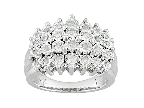 Photo of .50ctw Round White Diamond Rhodium Over Sterling Silver Ring - Size 7