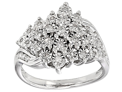 Photo of .33ctw Round White Diamond Rhodium Over Sterling Silver Ring - Size 7