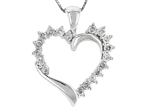 Photo of .50ctw Round White Diamond 10k White Gold Pendant With An 18inch Box Chain