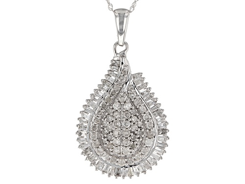 Photo of .85ctw Round And Baguette White Diamond 10k White Gold Pendant With An 18inch Chain