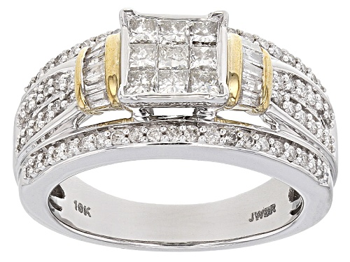 Photo of 1.00ctw Round,Baguette & Princess Cut Diamond 10k White Gold Ring W/ 10k Yellow Gold Accent Plating - Size 7