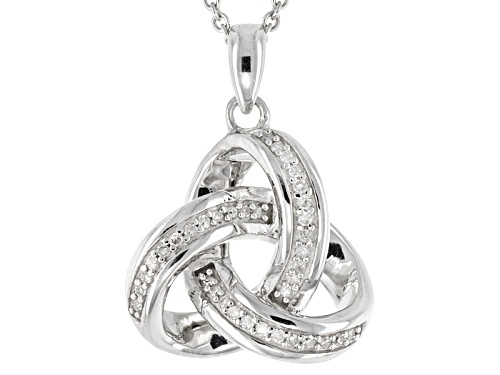 Photo of .10ctw Round White Diamond Rhodium Over Sterling Silver Pendant With An 18inch Cable Chain