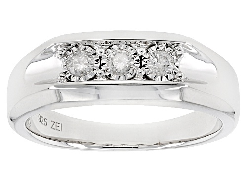 Photo of .25ctw Round White Diamond Rhodium Over Sterling Silver Gents Ring - Size 10