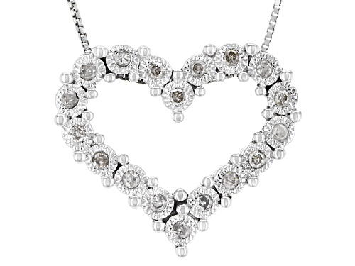 Photo of .25ctw Round White Diamond Rhodium Over Sterling Silver Heart Pendant With An 18inch Box Chain