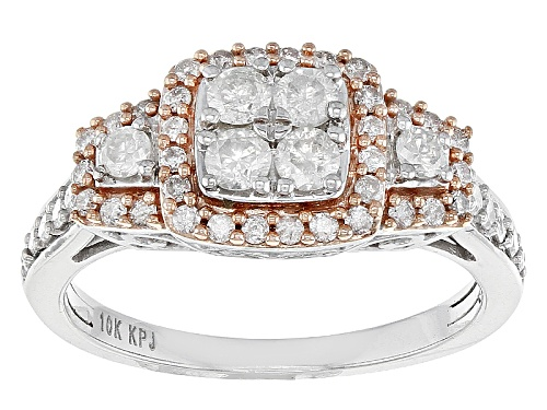 Photo of .75ctw Round White Diamond 10k White Gold Ring With 14k Rose Gold Accents - Size 7