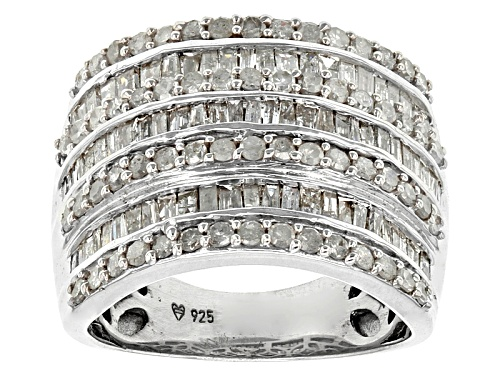 Photo of 2.00ctw Round And Baguette White Diamond Rhodium Over Sterling Silver Ring - Size 7