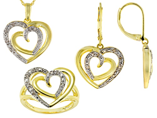 Photo of Emulous™ .25ctw Round Diamond 14k Yellow Gold Over Brass Heart Jewelry Set