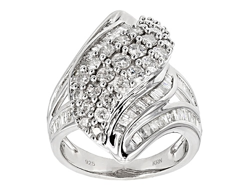Photo of 2.00ctw Round And Baguette White Diamond Rhodium Over Sterling Silver Ring - Size 6