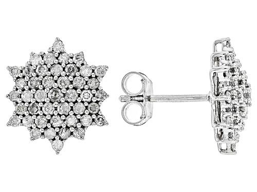 Photo of 1.02ctw Round White Diamond 10k White Gold Earrings