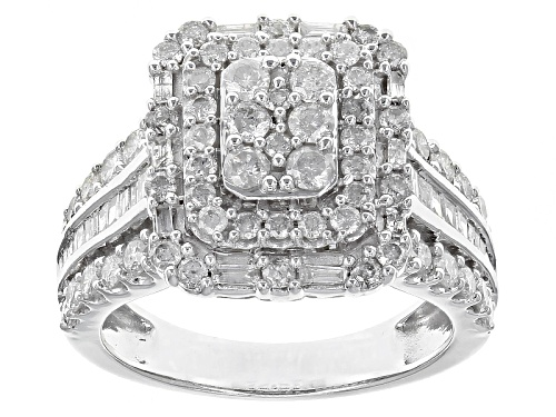 Photo of 1.90ctw Round And Baguette White Diamond 10k White Gold Ring - Size 7